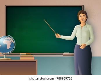 Female teacher pointing to a blackboard. Digital illustration.