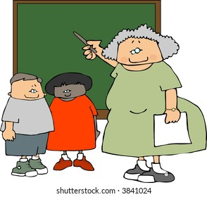 Female Teacher & Students