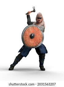 Female viking shield maiden warrior holding an axe in fighting pose. 3D illustration isolated on a white background.