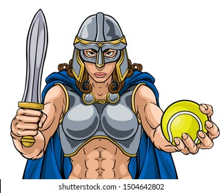 A female Viking, Trojan Spartan or Celtic warrior woman gladiator knight tennis sports mascot