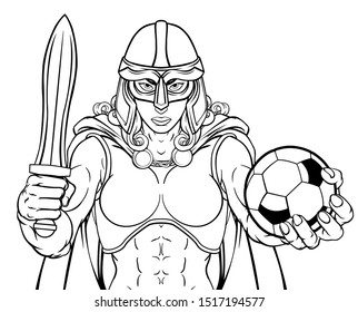 A female Viking, Trojan Spartan or Celtic warrior woman gladiator knight soccer football sports mascot
