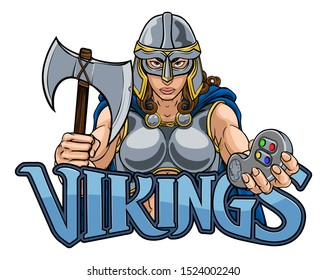 A female Viking, Trojan Spartan or Celtic warrior woman gladiator knight gamer mascot with video games controller