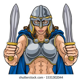A female Viking, Trojan Spartan or Celtic warrior woman gladiator knight sports team mascot