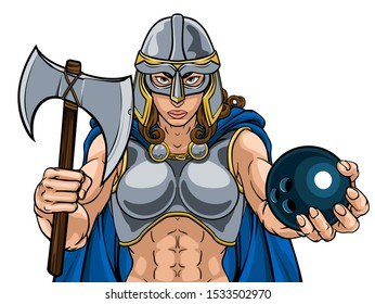 A female Viking, Trojan Spartan or Celtic warrior woman gladiator knight bowling sports mascot