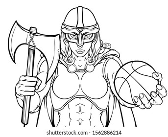 A female Viking, Trojan Spartan or Celtic warrior woman gladiator knight basketball sports mascot