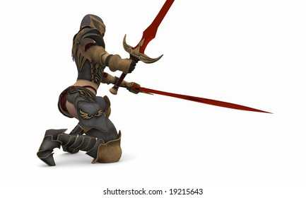 female warrior in armour weilding two massive swords
