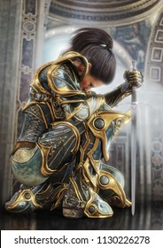 Female warrior knight kneeling proudly wearing decorative ornamental armor. 3d rendering