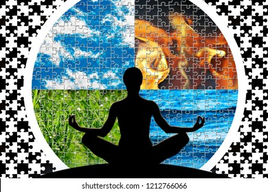 Female yoga figure in a circle composed of four puzzle cut natural elements (water, fire, earth, air)  as a concept for control emotions, power over nature, mind.
