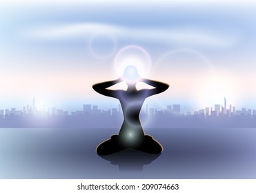 Female yoga silhouette with the third eye