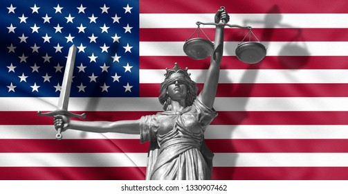 Femida, with scale, symbol of justice with USA flag 3d rendering. - Illustration