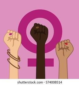 Feminism Power Symbol. Three multicultural women raising fists in solidarity.