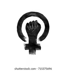 Feminism Protest Hand. Female Woman hand drawn Icon illustration isolated on white