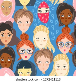 Feminism. Seamless pattern with women portraits. Different religion and nationality girls.  illustration