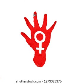 Feminism symbol red rised hand isolated on white background.