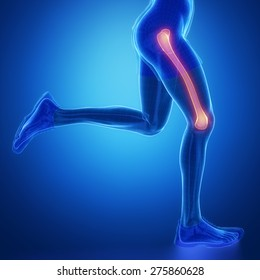 FEMUR - running man leg scan in blue