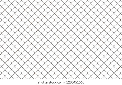 fence chainlink on white background isolated 3d illustration 45x29cm 300dpi