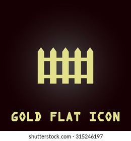 Fence icon. Gold flat icon. Symbol for web and mobile applications for use as logo, pictogram, infographic element