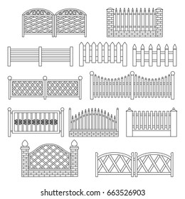 Fence icons. Fence line Icon Set Isolated on a White Background. Barrier for Protection Garden, House and Farm. Icons for web and graphic design. Line style logo.  illustration.