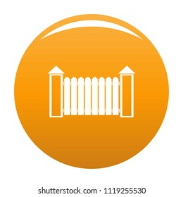 Fence with turret icon. Simple illustration of fence with turret icon for any design orange