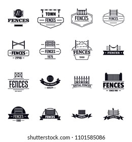 Fencing logo icons set. Simple illustration of 16 fencing logo icons for web