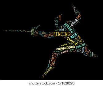 fencing pictogram with colorful related wordings
