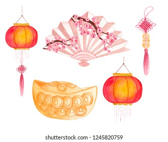 Feng shui attributes Watercolor elements Lantern Fan Sakura Cherry blossom Wealth bowl Coins