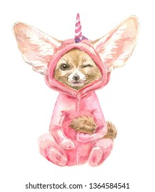 Fennec Fox winks slyly. Cute baby animal in pink unicorn pajamas. Print for children's fabric. Decor for children's parties