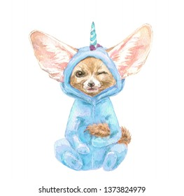 Fennec Fox winks slyly. Cute baby animal in blue unicorn pajamas. Print for children's fabric and poster. Decor for children's parties