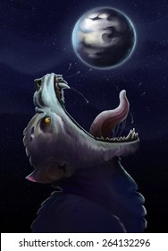 Fenrir-Wolf trying to swallow the moon