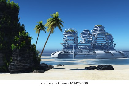 Fentazi building on the background of a tropical landscape. ,3d render
