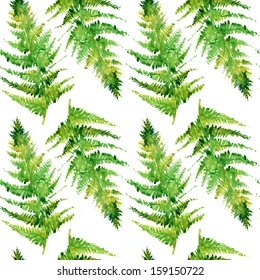 fern watercolor, seamless branches and leaves