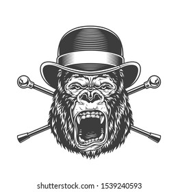 Ferocious gorilla head in fedora hat with crossed walking sticks in vintage monochrome style isolated illustration