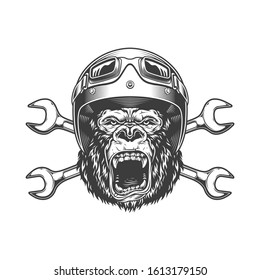 Ferocious gorilla head in moto helmet and goggles with crossed spanners in vintage monochrome style isolated illustration