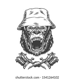 Ferocious gorilla head in panama hat with crossed tattoo machines in vintage monochrome style isolated illustration