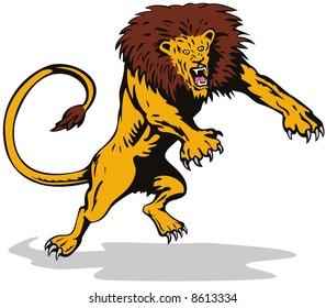 Ferocious lion attacking