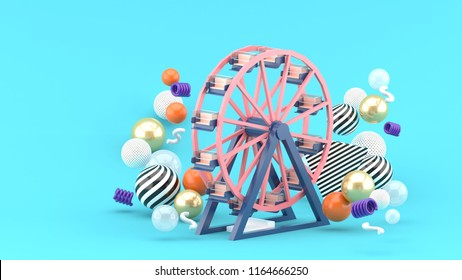 Ferris wheel among colorful balls on a blue background.-3d rendering.