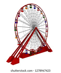 Ferris wheel isolated on white background Computer generated 3D illustration