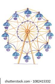 Ferris wheel watercolor hand drawn illustration