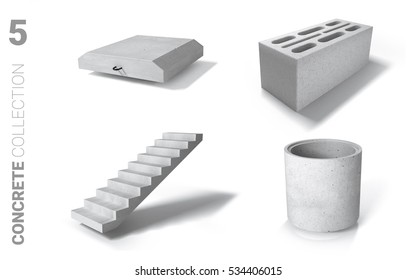Ferroconcrete (reinforced concrete) items 3D/ isolated on white background