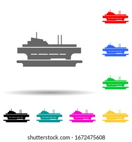 Ferry, ship multi color style icon. Simple glyph, flat of water transportation icons for ui and ux, website or mobile application