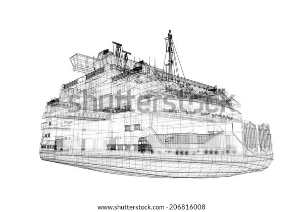 Ferryboat Cargo 3d Model Body Structure Stock Illustration 206816008