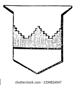 Fess Embattled Grady is a battlements gradually rise one above another, vintage line drawing or engraving illustration.