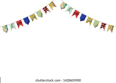 Festa Junina - illustration of decoration flags with space and white background - Caipira festival of Sao Joao