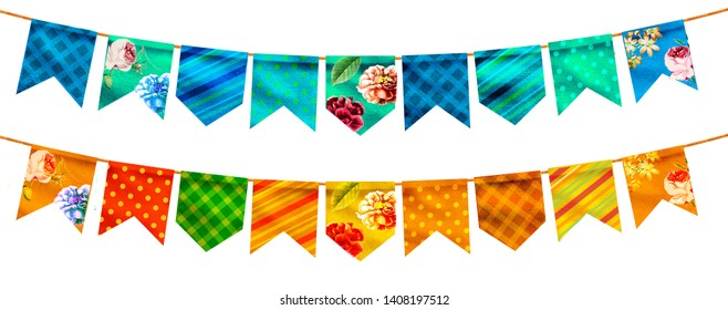 Festa Junina Illustration with Party Flags and  Background. Promotional stamp Brazil June Festival Design for Greeting Card or Holiday Poster. Festa de sao Joao. Festive Typographic