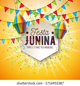Festa Junina Illustration with Party Flags and Paper Lantern on Yellow Background. Brazil June Festival Design for Greeting Card, Invitation or Holiday Poster. JPG version.