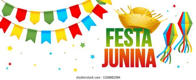 Festa Junina - June party. Brazil Festival. Banner design.