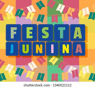 Festa Junina Latin American holiday. Festive party text flyer template. Traditional Brazil June folklore festival event colorful background. Fancy letters greeting. Flag banting cartoon illustration