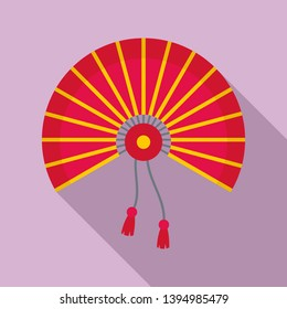Festival hand fan icon. Flat illustration of festival hand fan icon for web design
