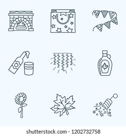 Festival icons line style set with light garland, petard, cider bottle elements. Isolated  illustration festival icons.