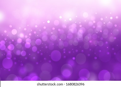 A festive abstract gradient purple pink background texture with glittering stars and bokeh circles. Card concept for Happy New Year, party invitation, valentine or other holidays.